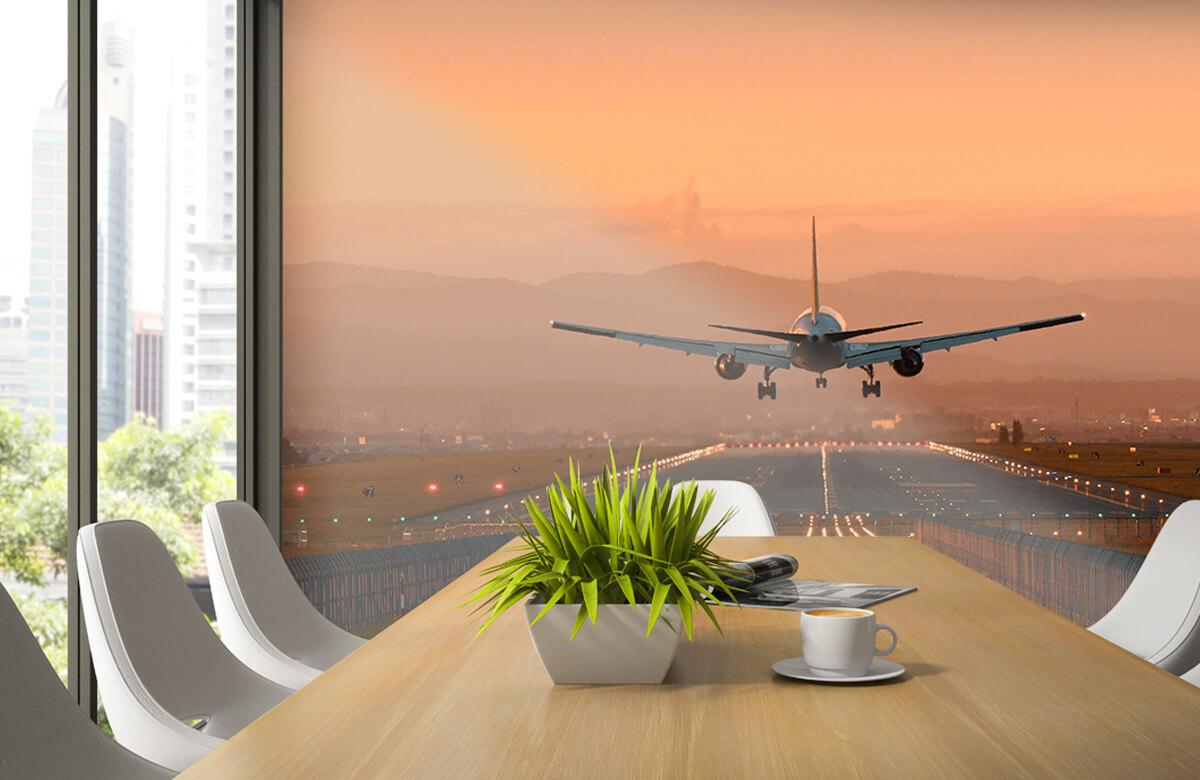 Transport Landend vliegtuig in de avondzon 3