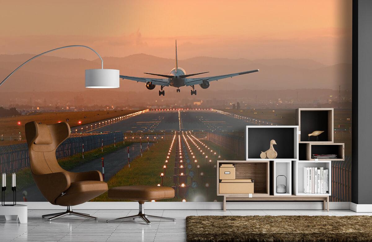Transport Landend vliegtuig in de avondzon 5