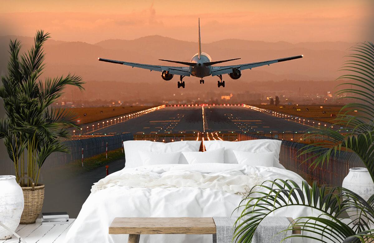 Transport Landend vliegtuig in de avondzon 7