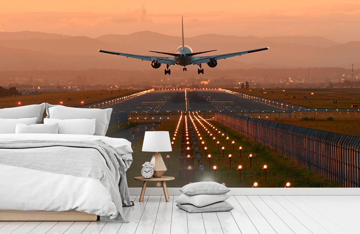 Transport Landend vliegtuig in de avondzon 8
