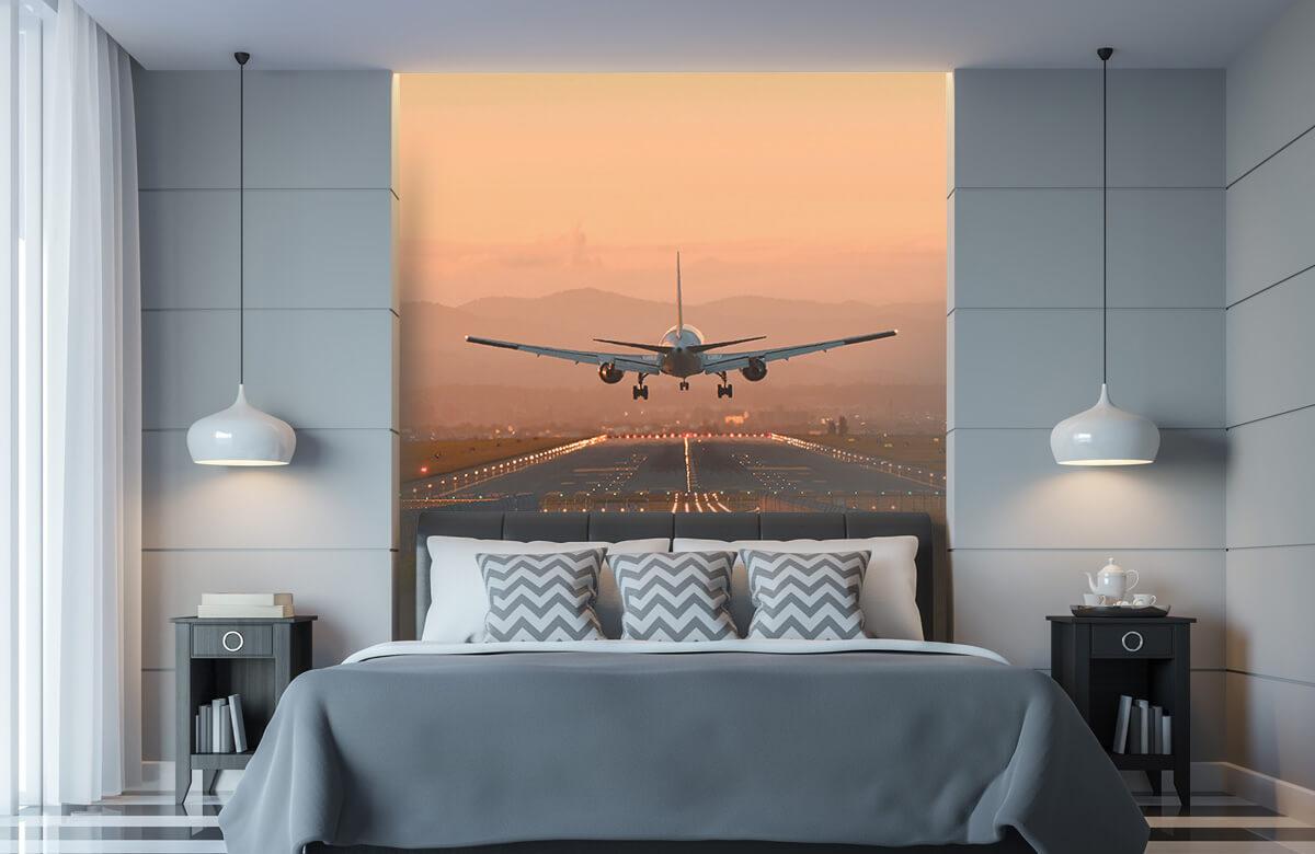 Transport Landend vliegtuig in de avondzon 9