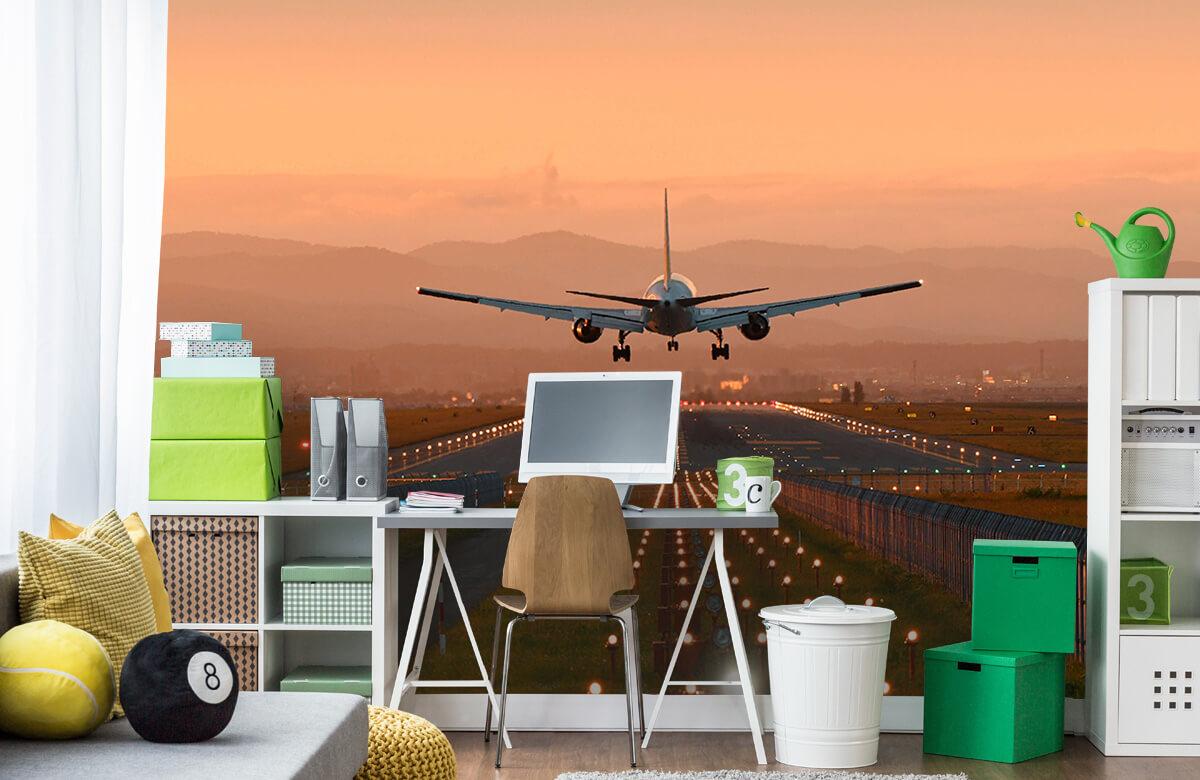 Transport Landend vliegtuig in de avondzon 10