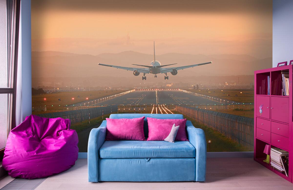 Transport Landend vliegtuig in de avondzon 11