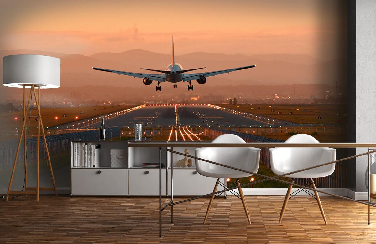 Transport Landend vliegtuig in de avondzon 1