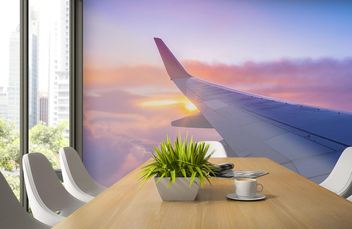 Transport Vliegtuigvleugel in de wolken 3