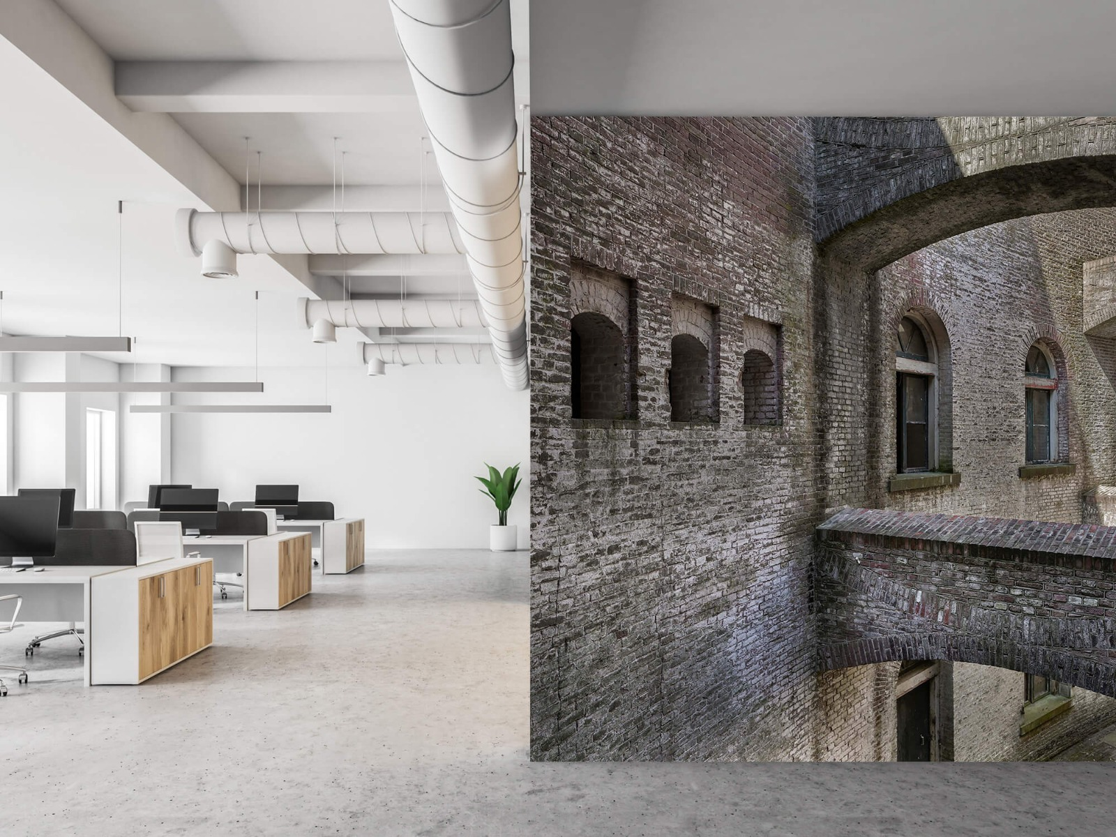 3D - Oud gebouw met bogen 3