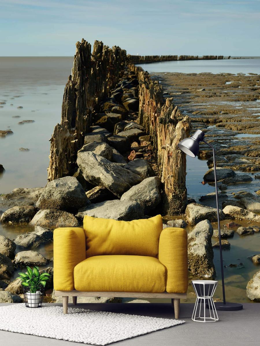 Zee - Golfbreker van hout en steen 2