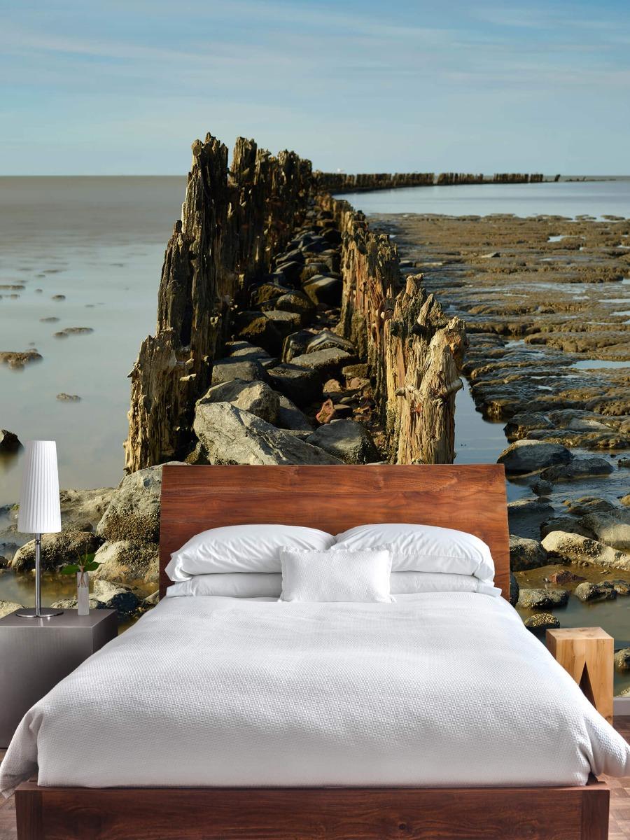 Zee - Golfbreker van hout en steen 3