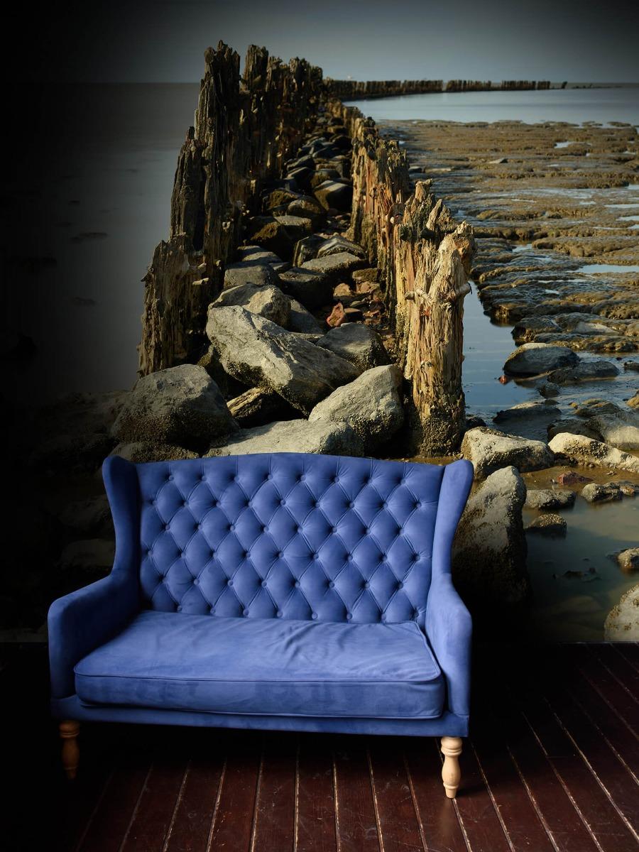 Zee - Golfbreker van hout en steen 4