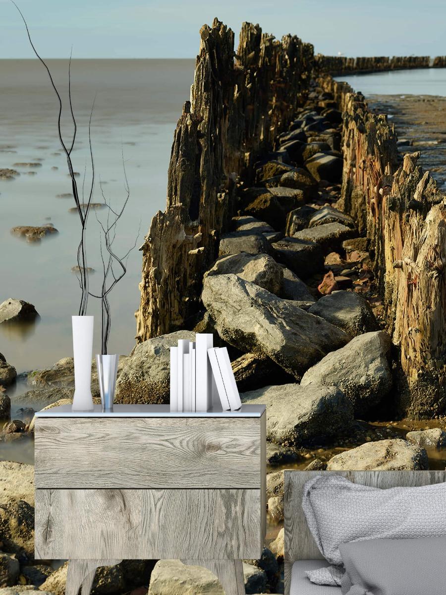 Zee - Golfbreker van hout en steen 1