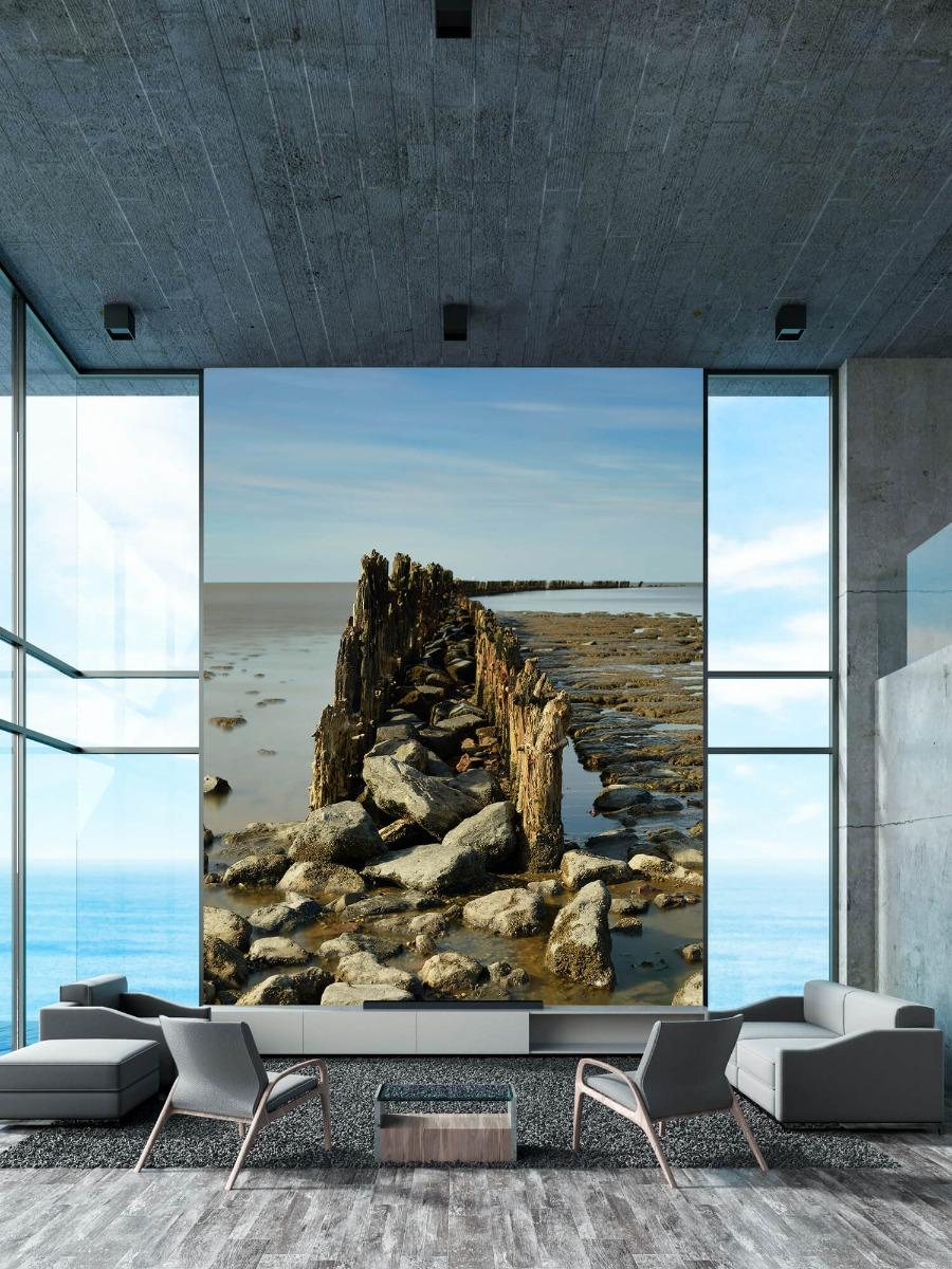 Zee - Golfbreker van hout en steen 10