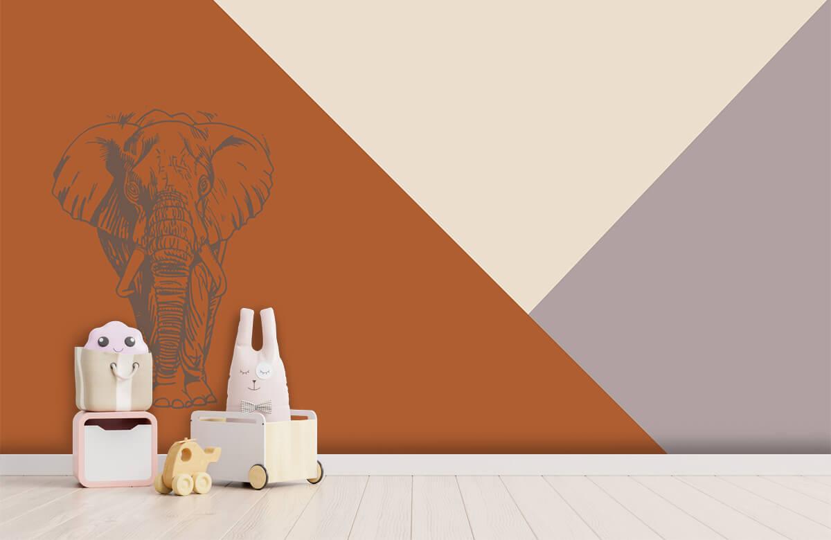 Hip & Trendy Roestkleurige driehoeken met olifant 1