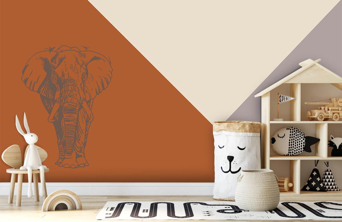 Hip & Trendy Roestkleurige driehoeken met olifant 4