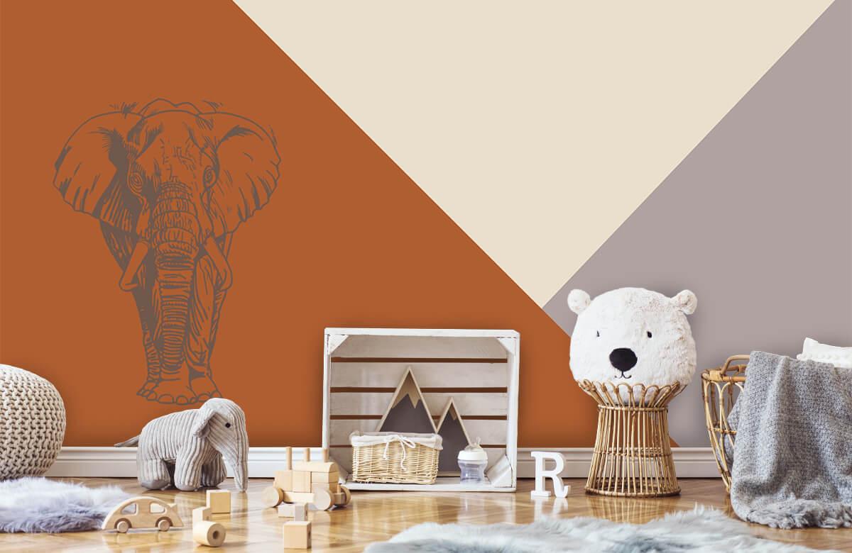 Hip & Trendy Roestkleurige driehoeken met olifant 5