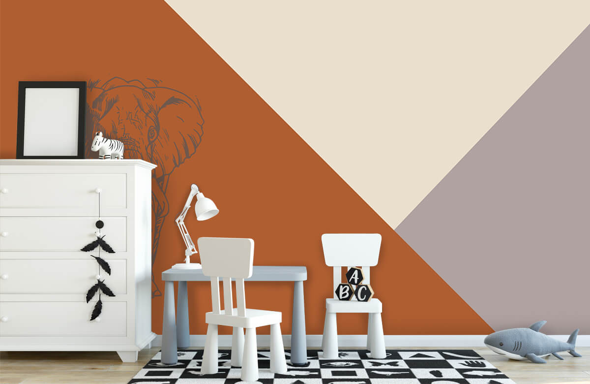 Hip & Trendy Roestkleurige driehoeken met olifant 7