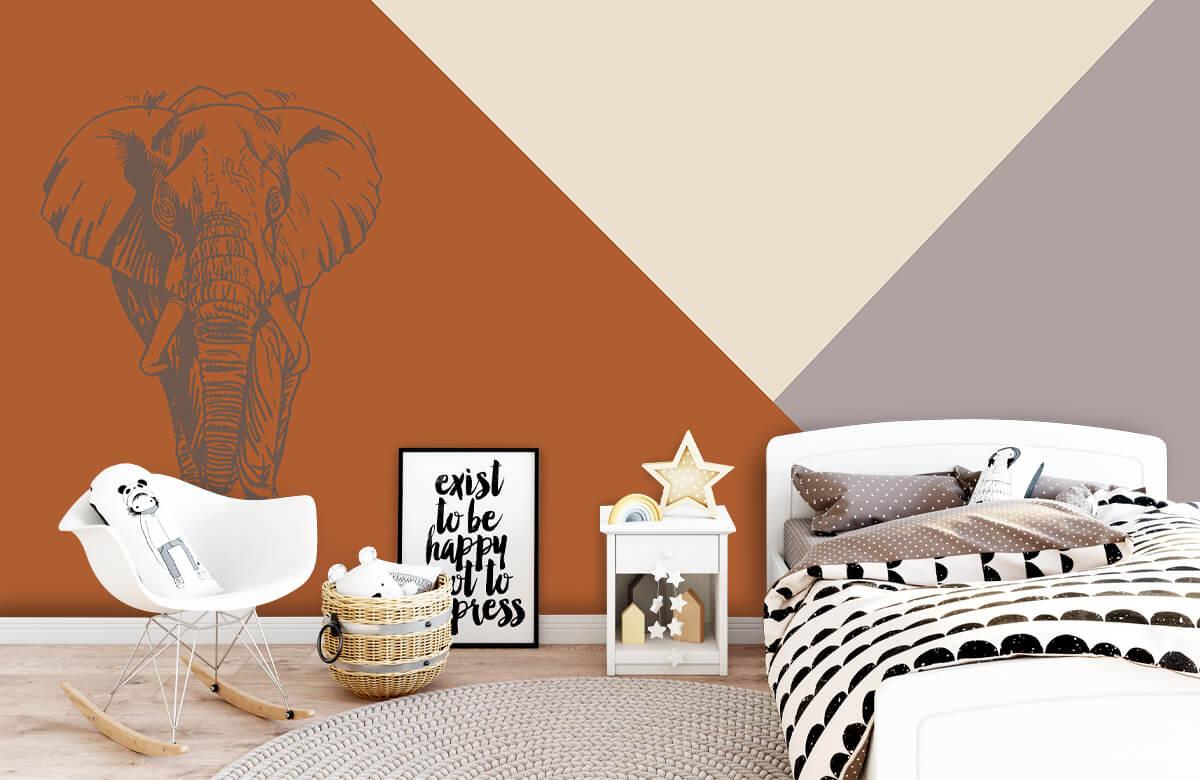 Hip & Trendy Roestkleurige driehoeken met olifant 8