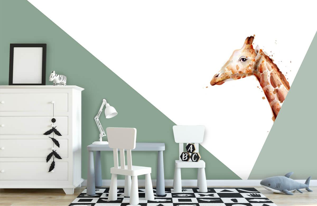 Hip & Trendy Groene driehoeken met giraffe 1