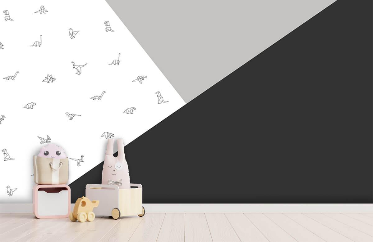 Hip & Trendy Zwart-wit driehoeken met dino's 3