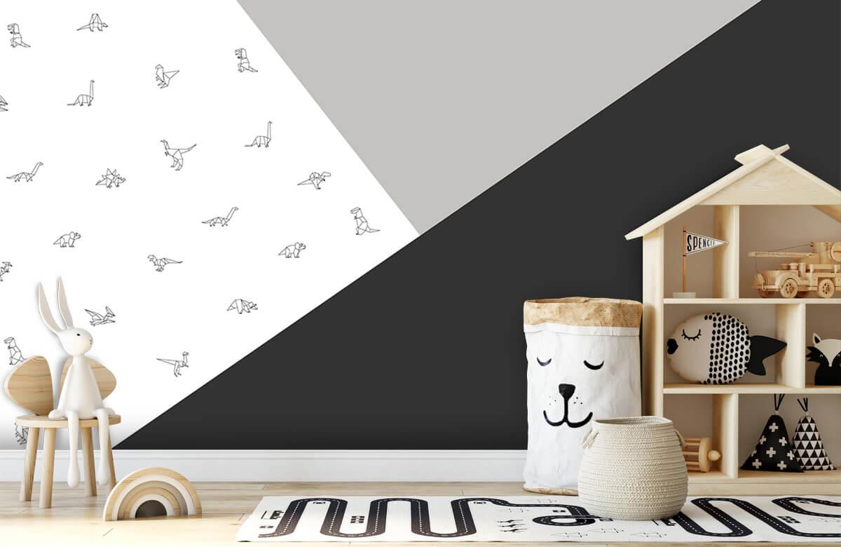 Hip & Trendy Zwart-wit driehoeken met dino's 4