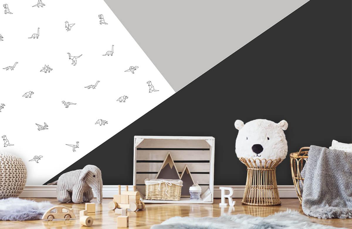 Hip & Trendy Zwart-wit driehoeken met dino's 5
