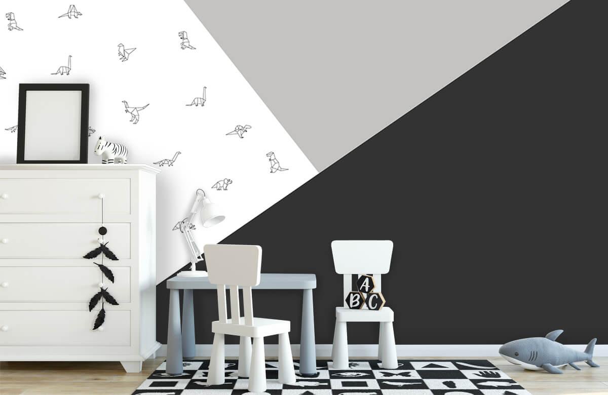 Hip & Trendy Zwart-wit driehoeken met dino's 7