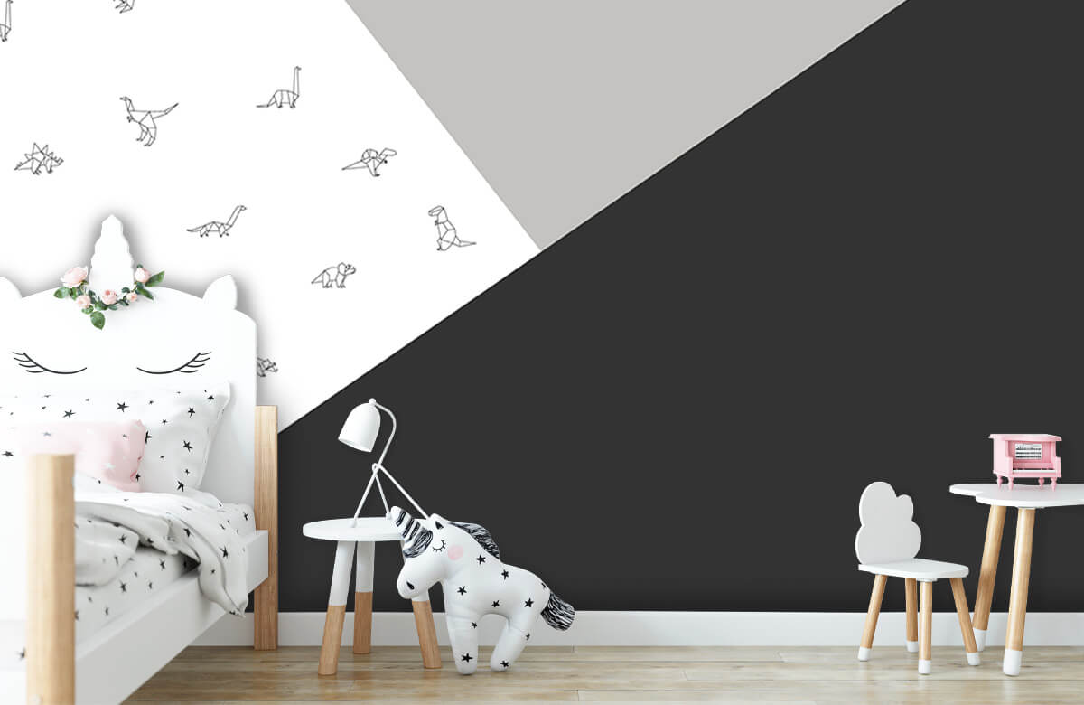Hip & Trendy Zwart-wit driehoeken met dino's 8