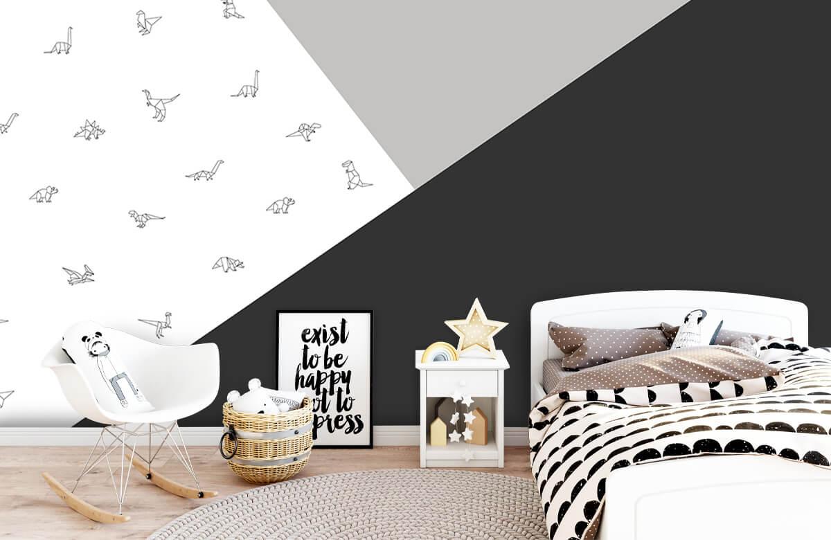 Hip & Trendy Zwart-wit driehoeken met dino's 9