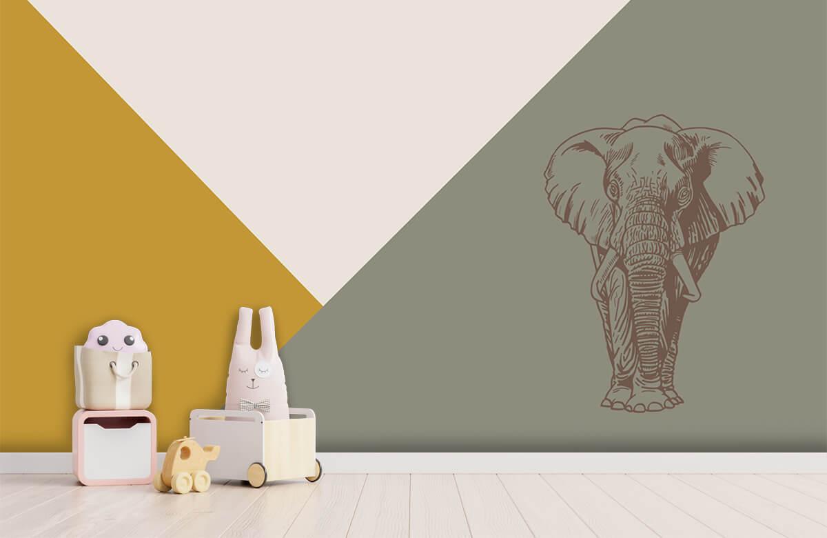 Hip & Trendy Driehoeken in okergeel en groen met olifant 4