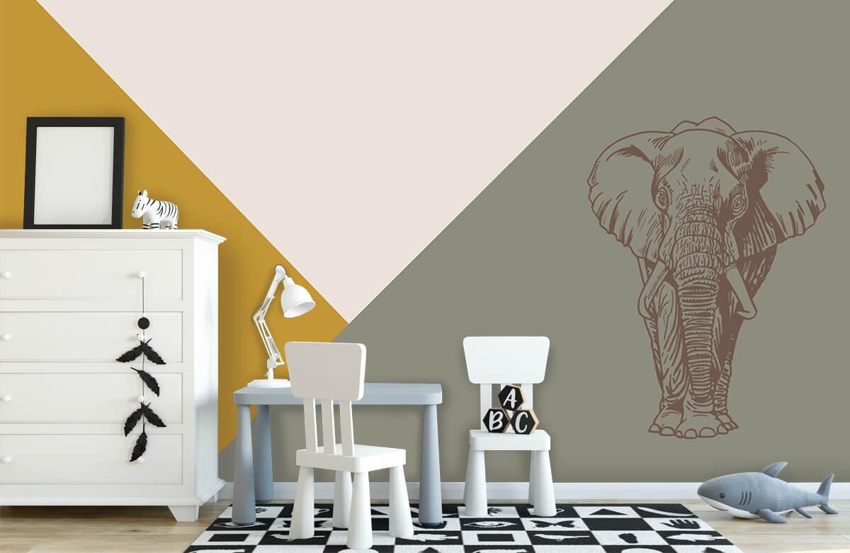 Hip & Trendy Driehoeken in okergeel en groen met olifant 8