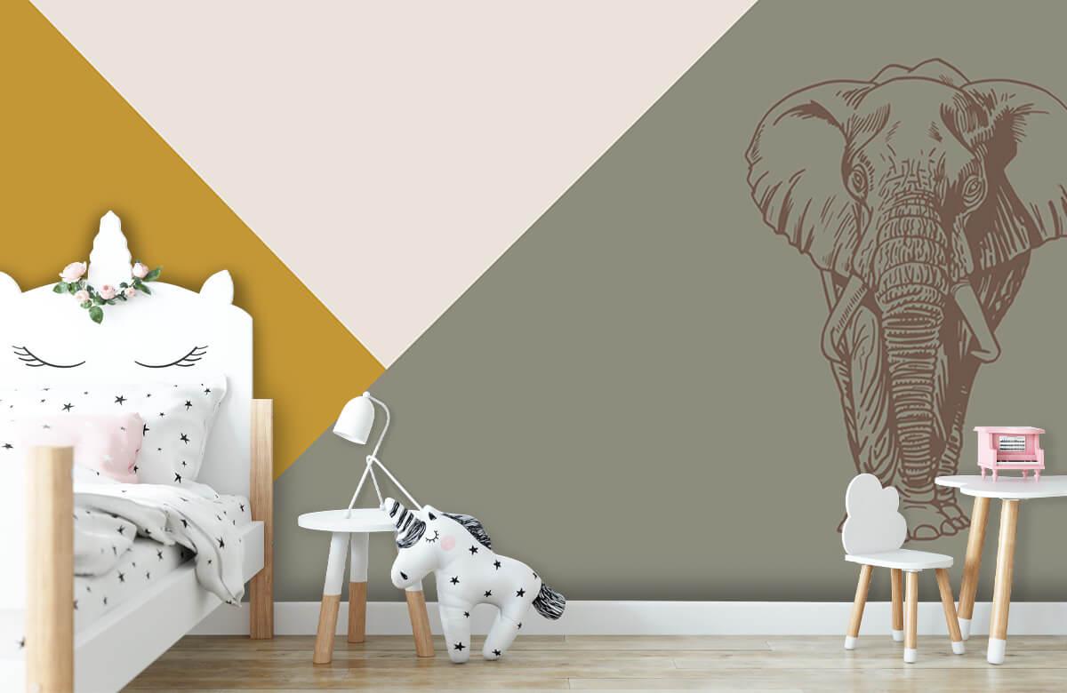 Hip & Trendy Driehoeken in okergeel en groen met olifant 1