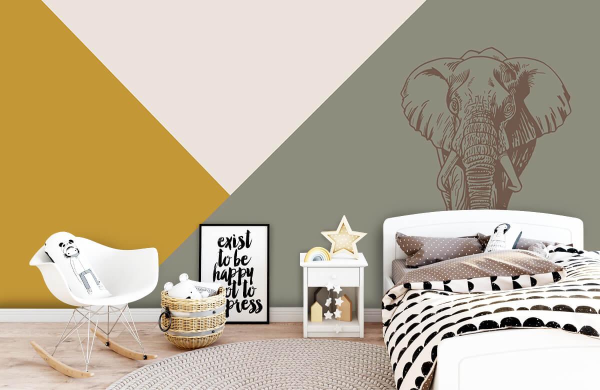 Hip & Trendy Driehoeken in okergeel en groen met olifant 9