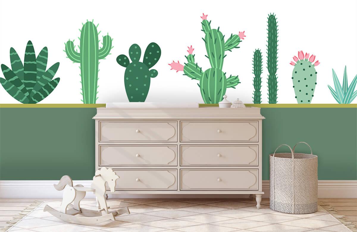 Hip & Trendy Groen vlak met cactussen 1