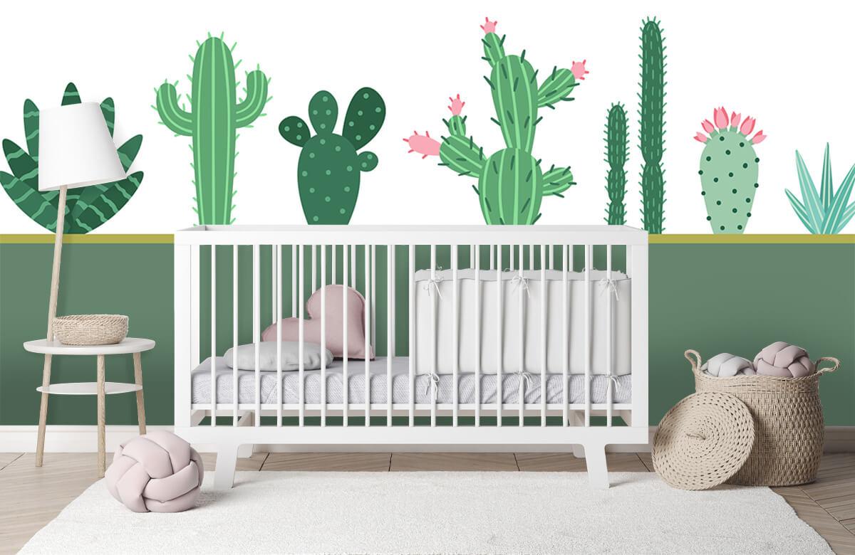 Hip & Trendy Groen vlak met cactussen 2