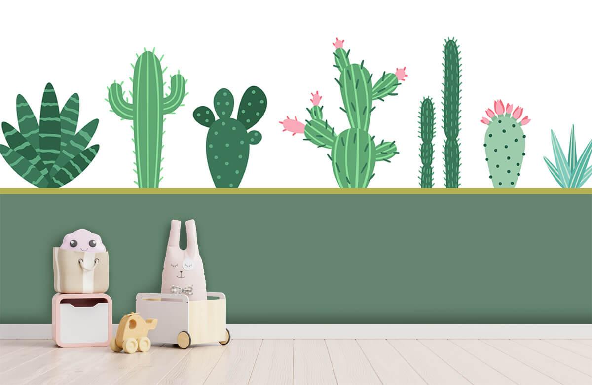 Hip & Trendy Groen vlak met cactussen 3