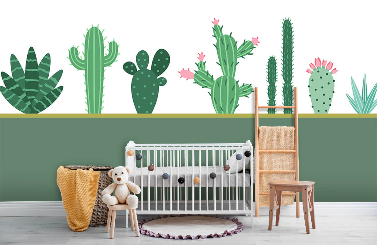 Hip & Trendy Groen vlak met cactussen 6