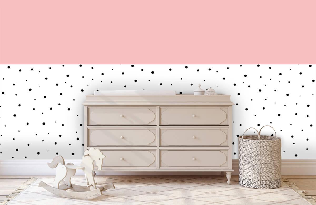 Hip & Trendy Roze en witte vlakken met zwarte stipjes 2