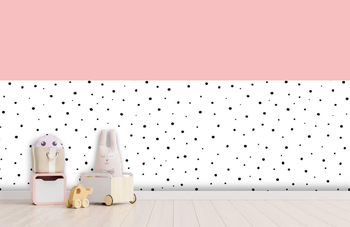Hip & Trendy Roze en witte vlakken met zwarte stipjes 4