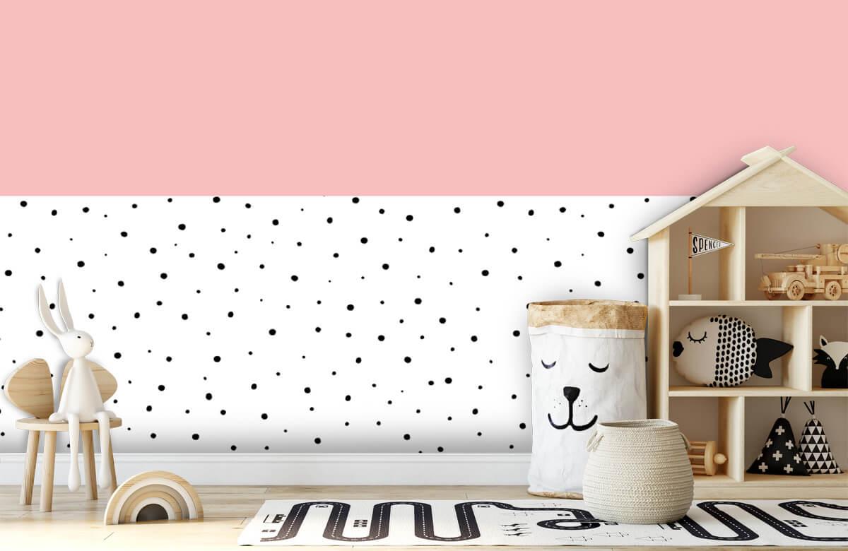 Hip & Trendy Roze en witte vlakken met zwarte stipjes 5