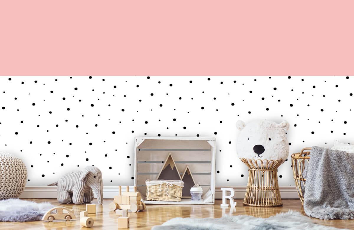 Hip & Trendy Roze en witte vlakken met zwarte stipjes 1