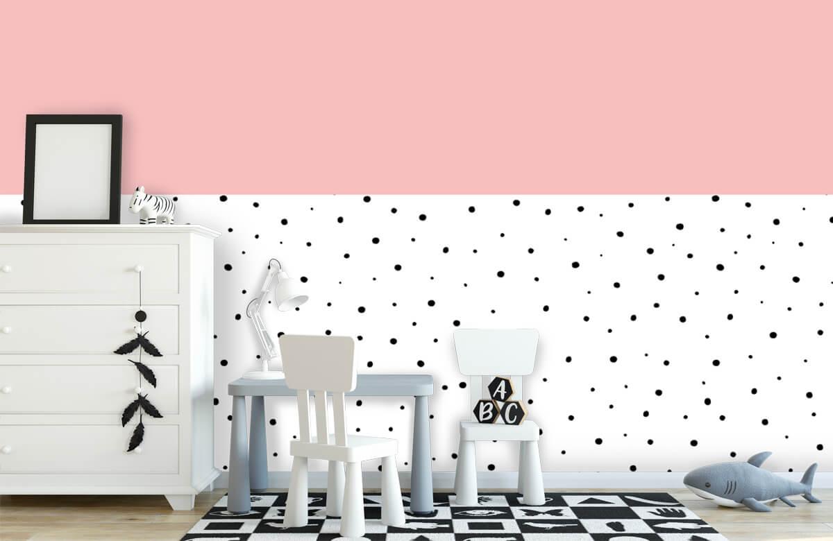 Hip & Trendy Roze en witte vlakken met zwarte stipjes 7