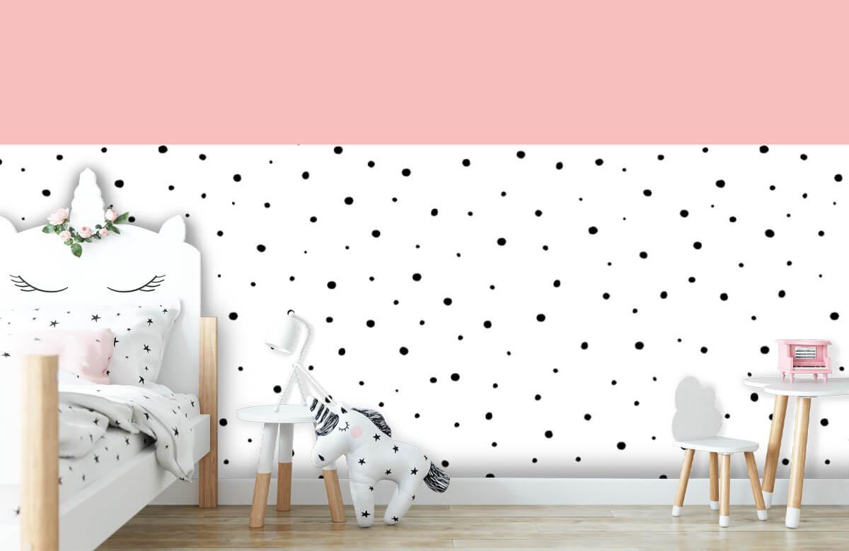 Hip & Trendy Roze en witte vlakken met zwarte stipjes 8