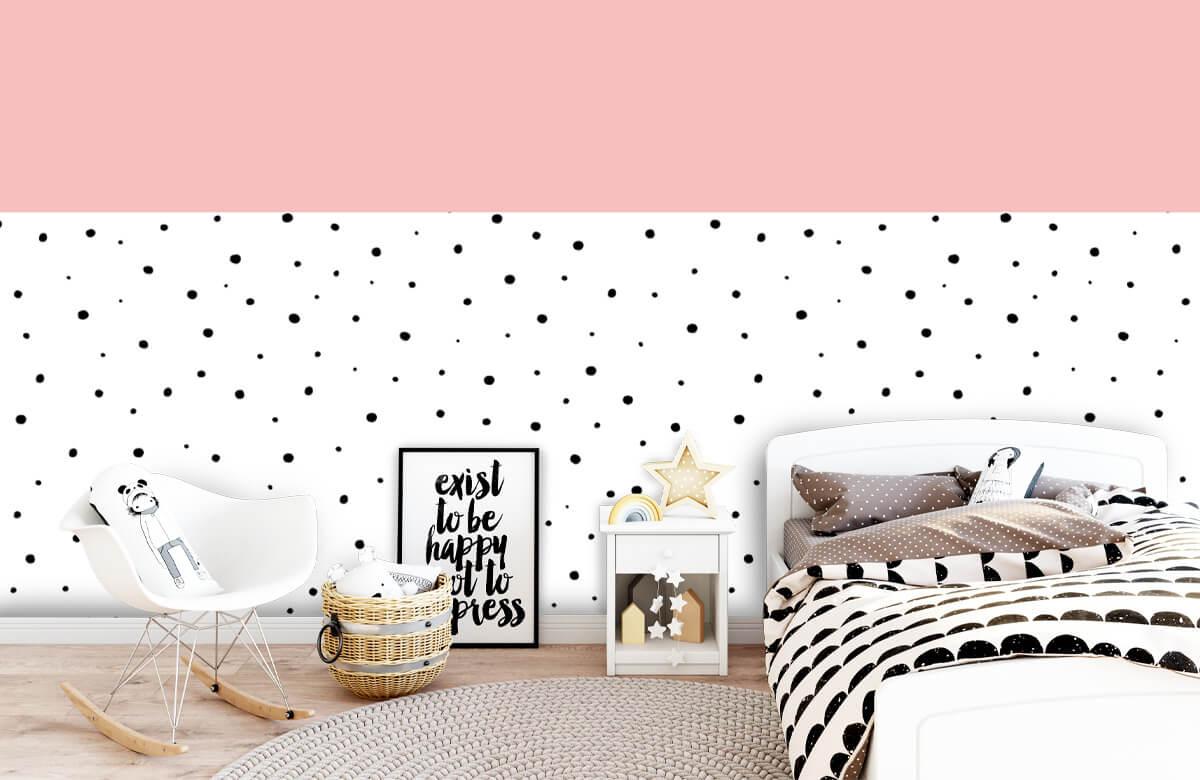 Hip & Trendy Roze en witte vlakken met zwarte stipjes 9