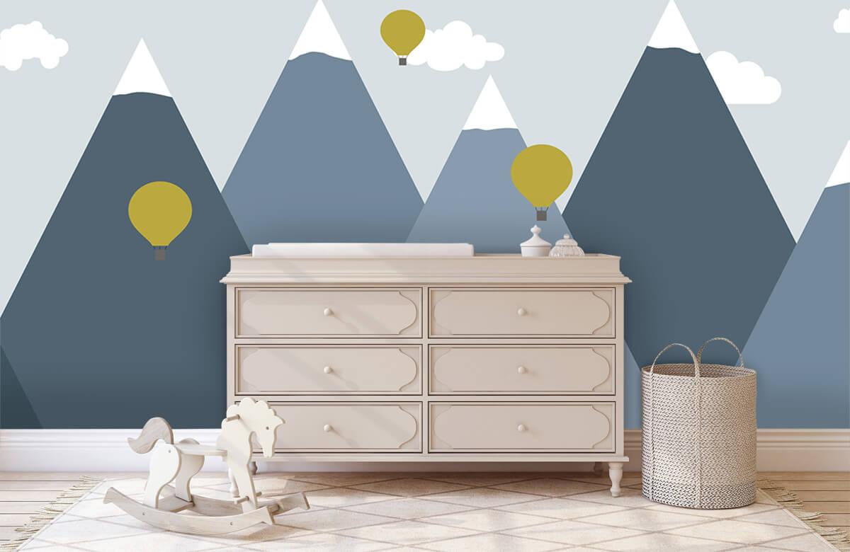 Hip & Trendy Blauwe bergen met luchtballonnen 2
