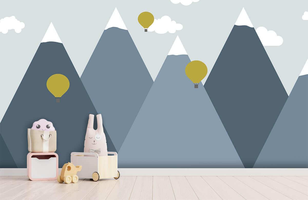 Hip & Trendy Blauwe bergen met luchtballonnen 4