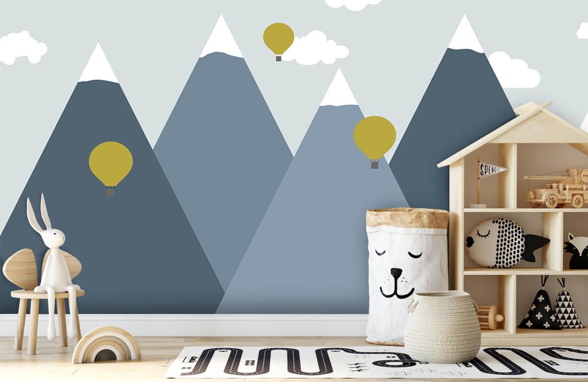 Hip & Trendy Blauwe bergen met luchtballonnen 5