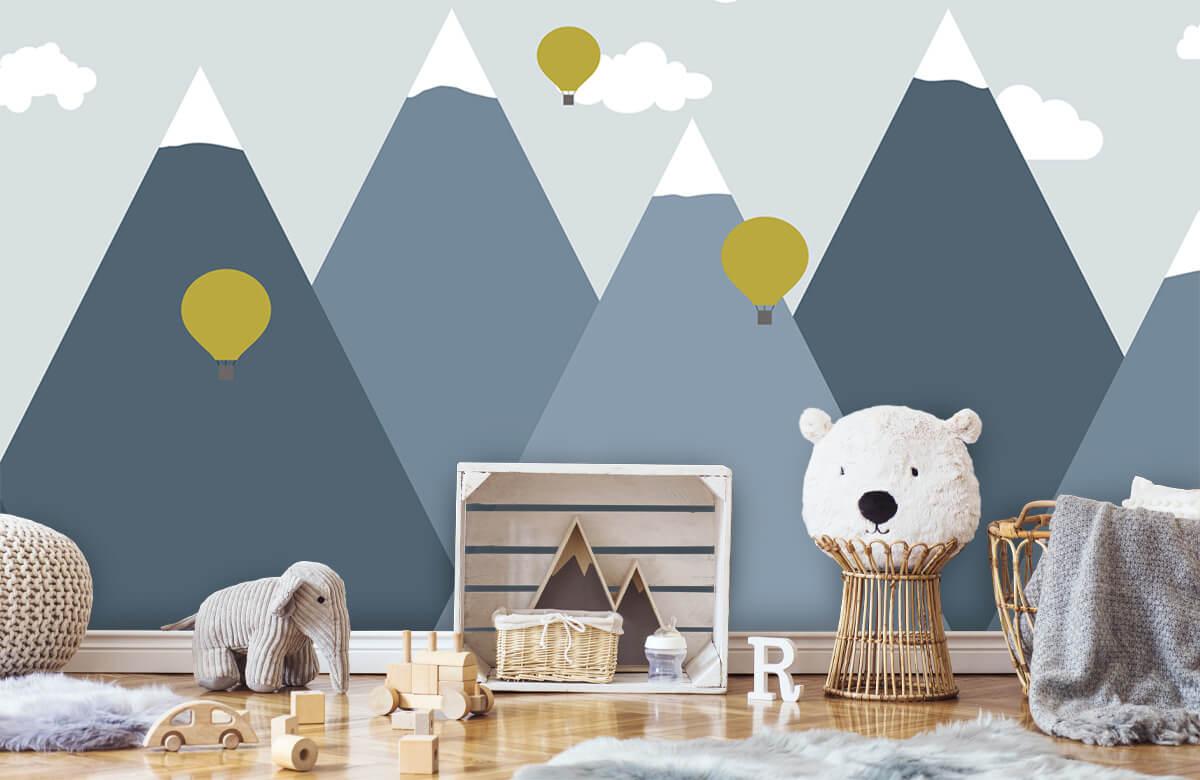 Hip & Trendy Blauwe bergen met luchtballonnen 6