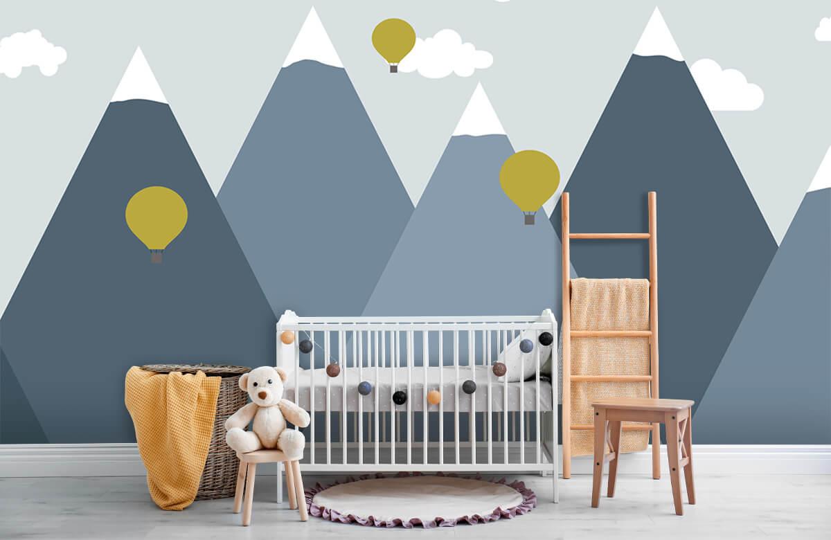 Hip & Trendy Blauwe bergen met luchtballonnen 7