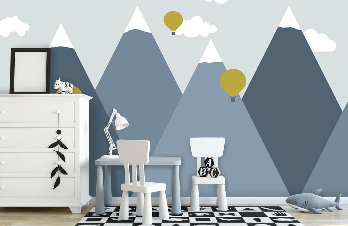 Hip & Trendy Blauwe bergen met luchtballonnen 1