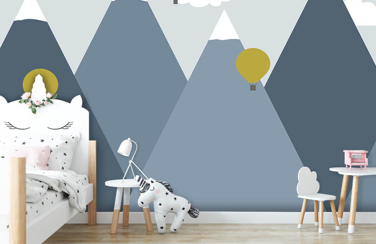 Hip & Trendy Blauwe bergen met luchtballonnen 8