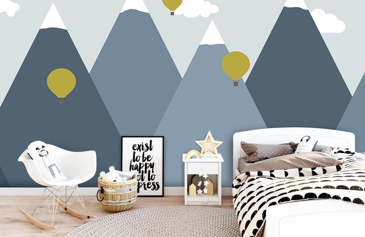 Hip & Trendy Blauwe bergen met luchtballonnen 9